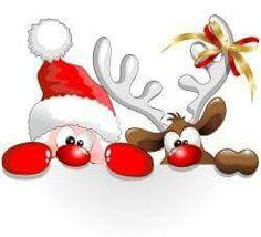 Santa y reno asomados