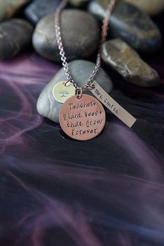 SALE - Teachers Plant Seeds That Grow Forever - Personalized Name - Teacher Gift - Teacher's Gift - Mixed Metals - Mixed Metal Jewelry