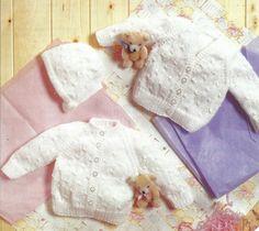 PDF Instant Digital Download premature baby doll cardigans & bonnet knitting pattern (692) by PatternsFromDaisylin on Etsy