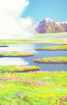 Ghibli Scenery iPhone backgrounds. This looks like it's from Howl's Moving Castle