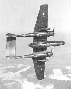 417th Night Fighter Squadron P-61 In Flight over Alps 1945.