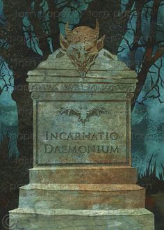 DEMONIC TOMBSTONE  Scary Halloween Card  Gravestone by tornpaperco, $4.00