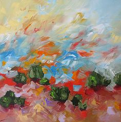Original Painting Abstract Art Fauve Landscape by lindamonfort, $255.00
