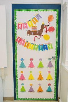 Birthday Bulletin Board On a door. Preschool Birthday Board, Birthday Display In Classroom, Birthday Bulletin Boards, Birthday Wall, Preschool Bulletin Boards, Classroom Displays, Classroom Decor, Birthday Calendar Classroom, Happy Birthday