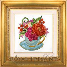 Machine Embroidery Design - Tea cup Peonies