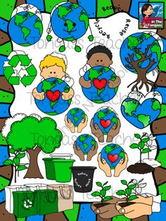 Earth Day Clipart Bundle from tongassteacher on TeachersNotebook.com -  (48 pages)  - The bundle includes an Earth, blank bins, grocery bags, reduce, reuse and recycle text, circling arrows, kids hugging Earth, hands holding Earth, Earth in a heart shape, an Earth tree, sapling, sapling in dirt, and a sapling in hands!