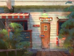 """""""I enjoy digital painting as much as the gouache. These are lighting studies I've done while back in digital on a cafe theme. Environment Concept Art, Environment Design, Matte Painting, Storyboard, Light Study, Color Script, Animation Background, Art Background, Visual Development"""