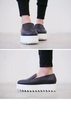 Simple Leather Platform Shoes