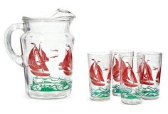 1960s Nautical Beverage Set, S/5