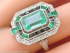 ESTATE-ART-DECO-3ct-EMERALD-32ctw-DIAMOND-BLACK-ONYX-PLATINUM-COCKTAIL-RING