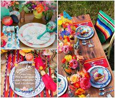 tables de mariage inspiration mexicaine multicolore, plaids et fleurs