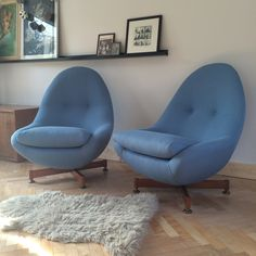 Greaves & Thomas Swivel egg Chairs, refurbished, retro, vintage, reupholstered