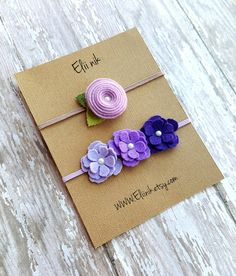 READY TO SHIP felt headband set felt Flower headband by eliinik Felt Flowers, Fabric Flowers, Paper Flowers, Felt Headband, Baby Headbands, Flower Headbands, Felt Diy, Felt Crafts, Diy Hair Bows