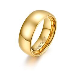 RAUL FANT 8mm Gold Plated Men's Tungsten Carbide Ring Wedding Band Polished Domed
