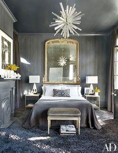 grey bedroom Interior Designer Lee Ledbetter, image via Architectural Digest Home Bedroom, Bedroom Decor, Bedroom Ideas, Bedroom Lighting, Bedroom Chandeliers, Chandeliers Modern, Bedroom Wall, Sputnik Chandelier, Headboard Ideas