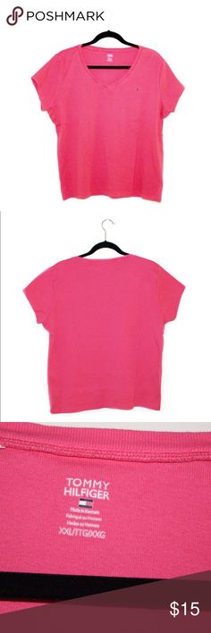 Tommy Hilfiger V-neck sleeve shirt Hold the size of a grain of salt under the left sleeve. Tommy Hilfiger Tops Tees - Short Sleeve