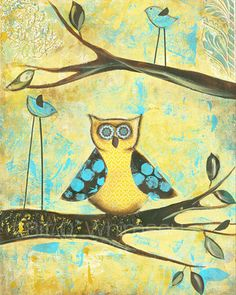 Three's a Crowd..5 x 7 print...from original mixed media painting and collage by Kandy Myny Bird on a Branch Yellow Owl