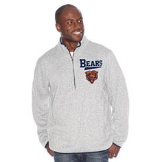 903fe2238 Keep warm this football season with this Chicago Bears Banks Pullover  Sweatshirt from G-III Sports! This zip sweatshirt is all gray with navy  blue accents ...
