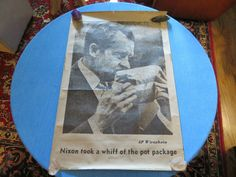 NIXON TOOK A WHIFF OF THE POT PACKAGE - RARE 70's POSTER