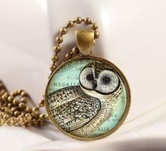 Vintage Barn Owl Pendant Bird Pendant Resin Pendant by artyscapes, $9.50
