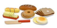 Melissa & Doug Cutting Bread SetYummy! This colorful wooden cutting bread set is so detailed, you can practically smell the dough rising! Made from solid wood, kids can open their own pretend bakery with this 22 piece set which includes: 2 loaves of bread, bread slices, English muffin, wooden snife and sliceable butter.