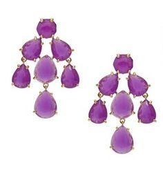 Kate Spade chandelier earrings in African Violet Gold Rings Jewelry, Dainty Jewelry, Diamond Jewelry, Jewelery, Purple Chandelier, Chandelier Earrings, Dangle Earrings, Anastasia, Kate Spade Earrings