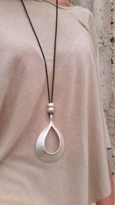 silver pendant necklace black leather necklace long necklace statement necklace large necklace silver beads pendant stylish necklace. by danielapalatnik on Etsy