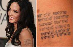 Angelina Jolie Tattoos – Photos and Explanation