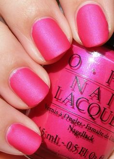 Not usually a fan of the matte finish nail polish, but I really like this one! OPI ~ La-Pazitively Hot Matte