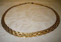 "Sterling Silver 925 Y Gold Plated Herringbone Braided Necklace 18"" Reversible  #HCT #Choker"