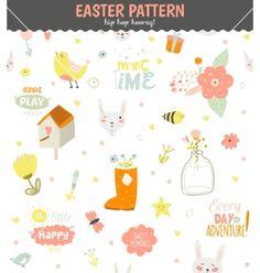 Cute pattern with animals bunny birds flowers vector  by lana_vasiukova on VectorStock®