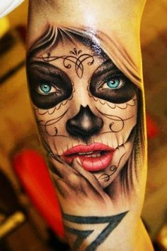 beautiful girl with blue eyes sugar skull Tattoo