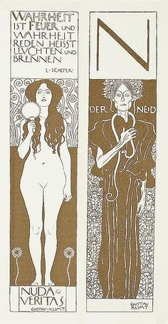 Nude Veritas and Der Neid (Envy) by Gustav Klimt, 1899