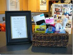 Toiletry basket for the reception restroom! I love this idea for some emergency items that guests may need