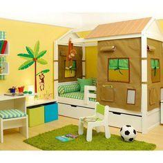 Quarto infantil, cama cabana, casa, tenda, barraca