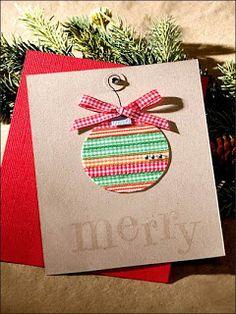 Christmas ornament card made from ribbon Christmas Card Crafts, Homemade Christmas Cards, Christmas Cards To Make, Xmas Cards, Handmade Christmas, Homemade Cards, Holiday Cards, Christmas Ornament, Navidad Diy