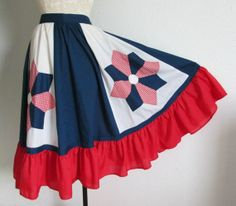 Calico House Red White and Blue Vintage 70s Bohemian Peasant Hippie Festival Circle Skirt, $25.00