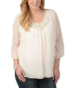 Look what I found on #zulily! Ivory Floral-Yoke Scoop Neck Top - Plus #zulilyfinds