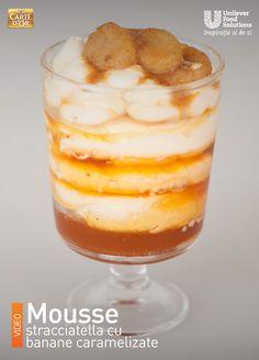 MOUSSE STRACCIATELLA CU BANANE CARAMELIZATE Mousse, Pudding, Desserts, Food, Banana, Tailgate Desserts, Deserts, Eten, Moose
