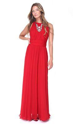Vestido Longo Vermelho Ruby - Aluguer de vestidos Badgley Mischka - Frente