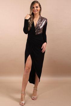 9987af3e1e Merika Black Plunge Glitter Rose Gold Panel Dress. Virgo Boutique Fashion