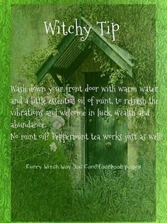 wash front door with mint for luck and abundance