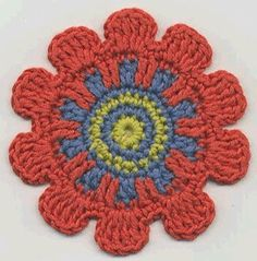 Ray Flower from Crochet Bouquet All 8 steps are pinned, but you can pin thought to the site. Crochet Square Pattern, Crochet Motif Patterns, Crochet Squares, Granny Squares, Crochet Crafts, Crochet Yarn, Yarn Crafts, Crochet Stitches, Crochet Coaster