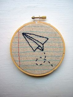Paper Airplane-Embroidery Hoop Wall Art-Machine Stitched and Hand Embroidered