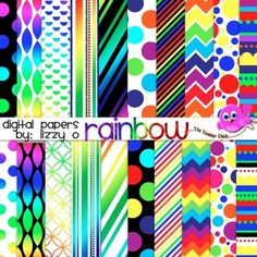 Bright rainbow digital papers for your product and designs!  *20 digital papers plus 5 bonus papers * High Quality - 300 dpi * Personal & Commercial use