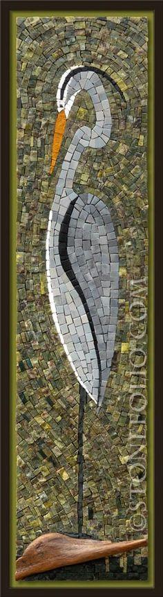 Great Blue Heron mosaic - Roberto Centazzo  - Stone Folio - Natural Stone & Marble Mosaics