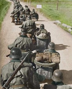 Motorcycle Units Of The Leibst is listed (or ranked) 18 on the list Colorized WWII Photos From The German Side German Soldiers Ww2, German Army, Luftwaffe, Germany Ww2, Military Pictures, War Machine, Military History, World War Ii, Wwii