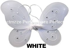 Perfectmaze 12″ x 10″ Infant Child Fairy Princess Butterfly Wings Costume – White