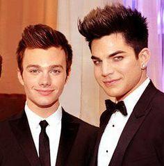 Adam Lambert w/ Chris Colfer of 'Glee'
