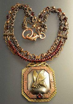 Necklace | Nancy L T Hamilton | Copper, Sterling, Brass,  and Garnets